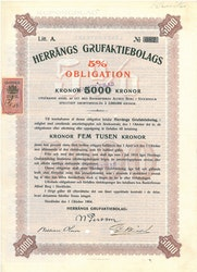 Herrängs Gruf, AB, 5 %, 5000 kr