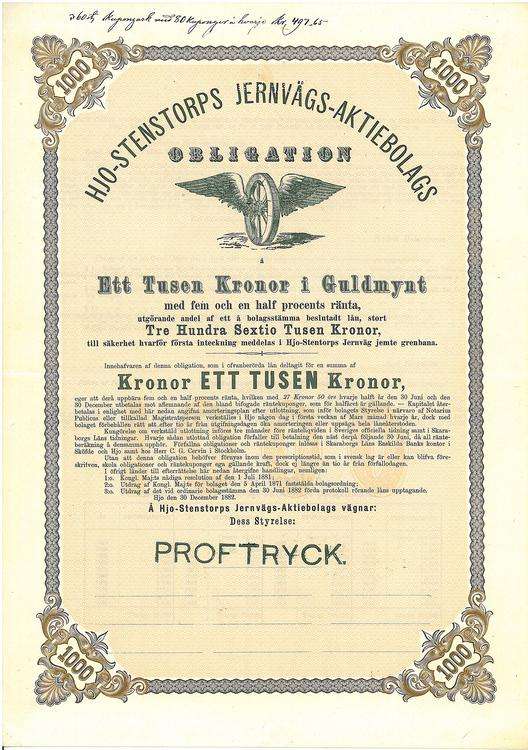 Hjo-Stentorps Järnvägs AB, 1000 kr guldmynt