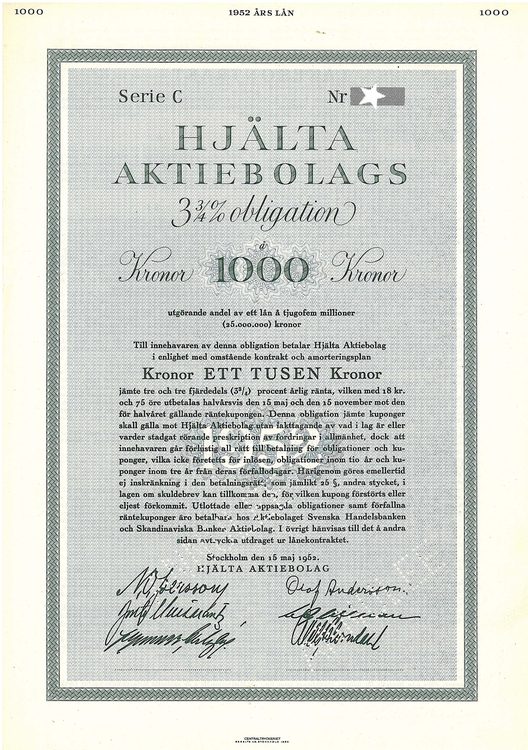 Hjälta AB, 3 3/4%, 1000 kr