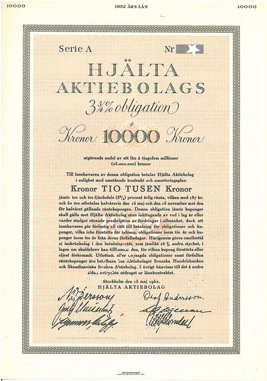 Hjälta AB, 3 1/4 %, 10.000 kr