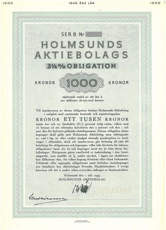 Holmsunds AB, 3 1/4 %, 1000 kr
