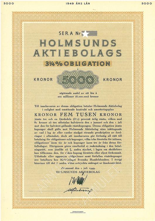 Holmsunds AB, 3 1/4 %, 5000 kr