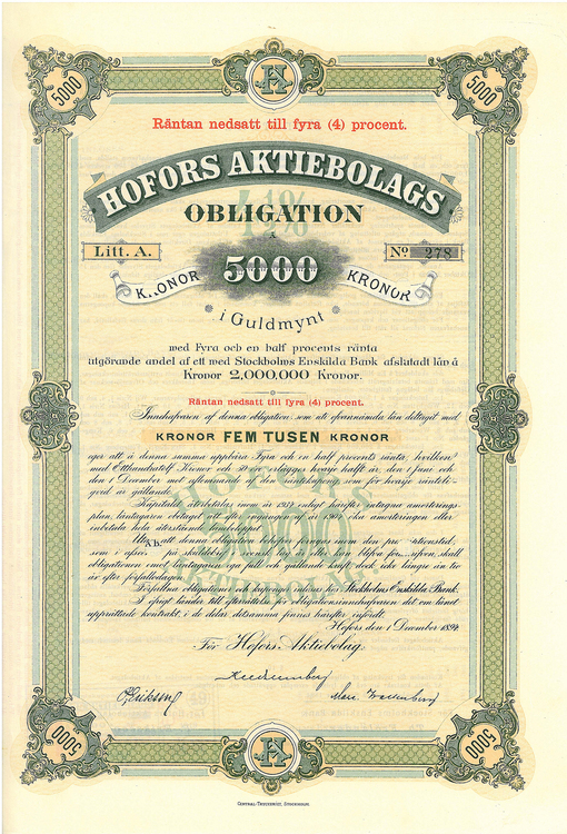 Hofors AB, 4 %, 5000 kr i Guldmynt