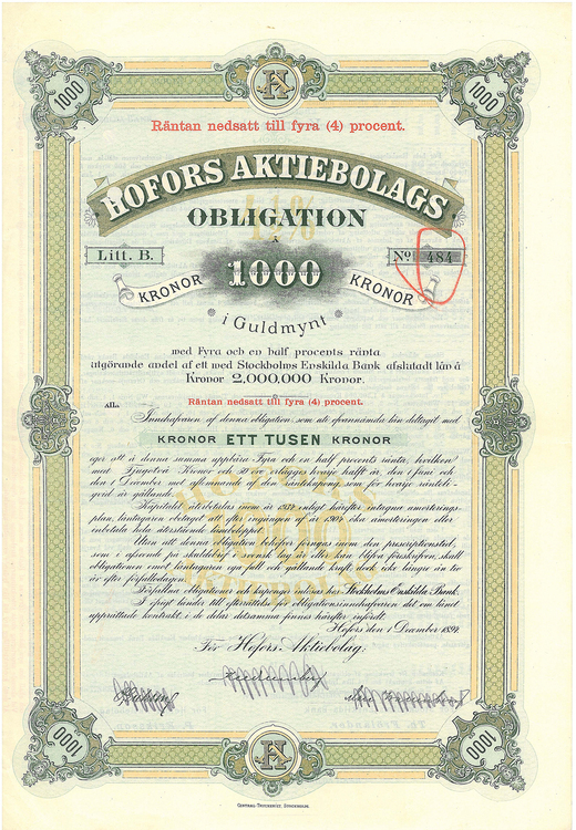 Hofors AB, 4 %, 1000 kr i Guldmynt