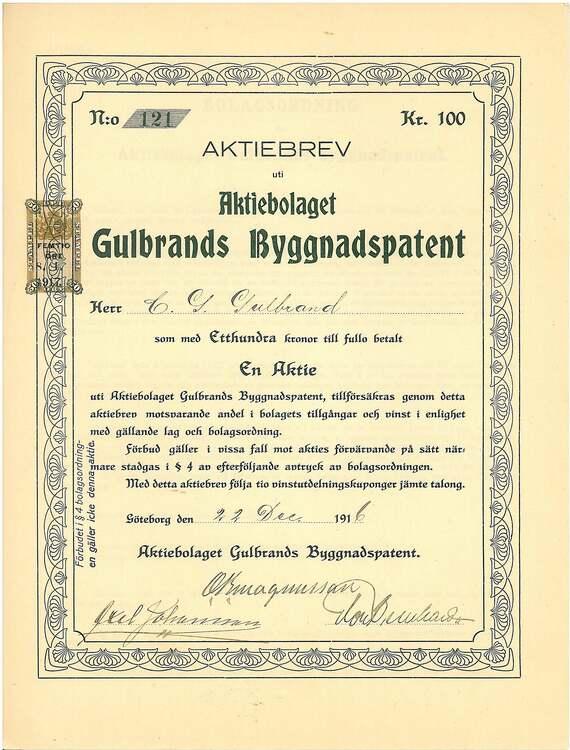 Gulbrands Byggnadspatent, AB