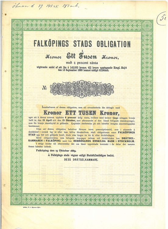 Falköpings Stads Obligation