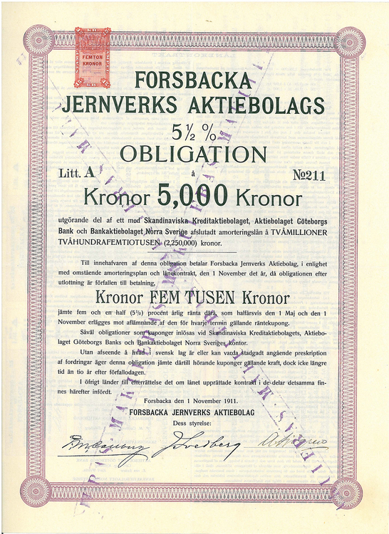Forsbacka Jernverks AB 5 1/2 %