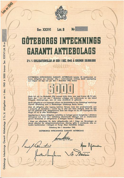 Göteborgs Intecknings Garanti AB, 2 3/4 %,