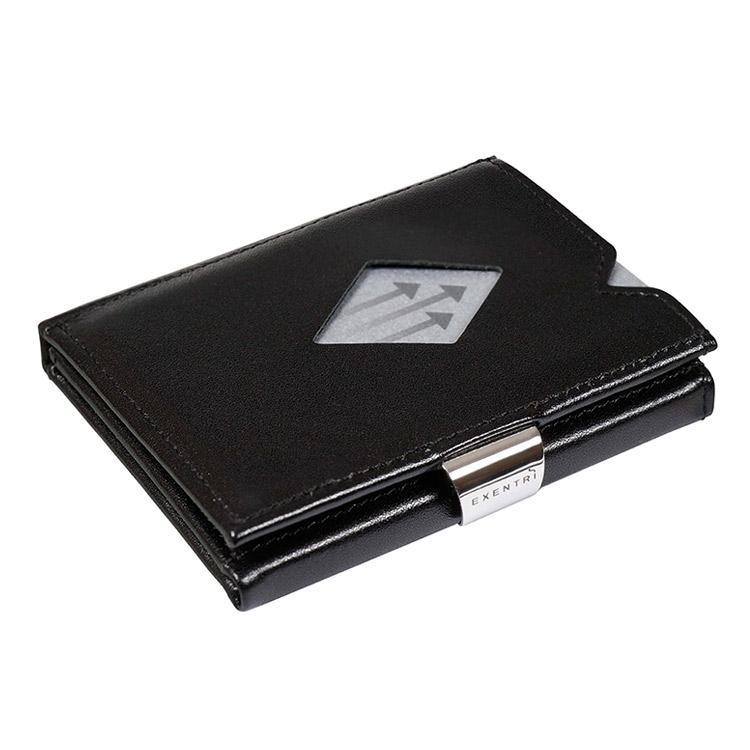 Exentri Multiwallet Black, exklusiv och smart plånbok med myntfack och plats för kort, sedlar och kvitton.
