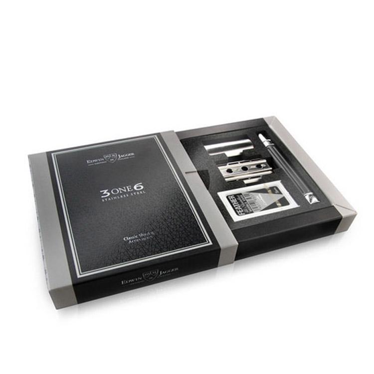 Edwin Jagger 3ONE6 Stainless Steel Gunmetal DE Razor, Premium hyvel i rostfritt stål som ger minimal bladkänsla.