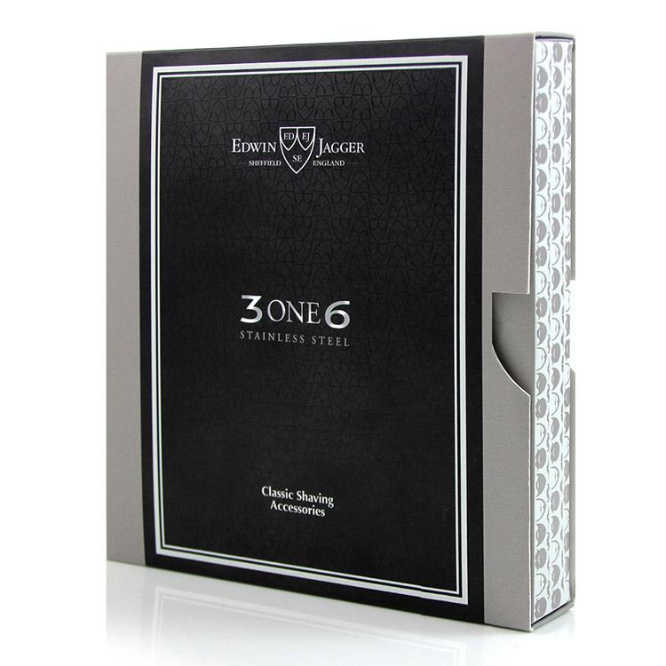 Edwin Jagger 3ONE6 Stainless Steel Knurled DE Razor, Premium hyvel i rostfritt stål med räfflat handtag.