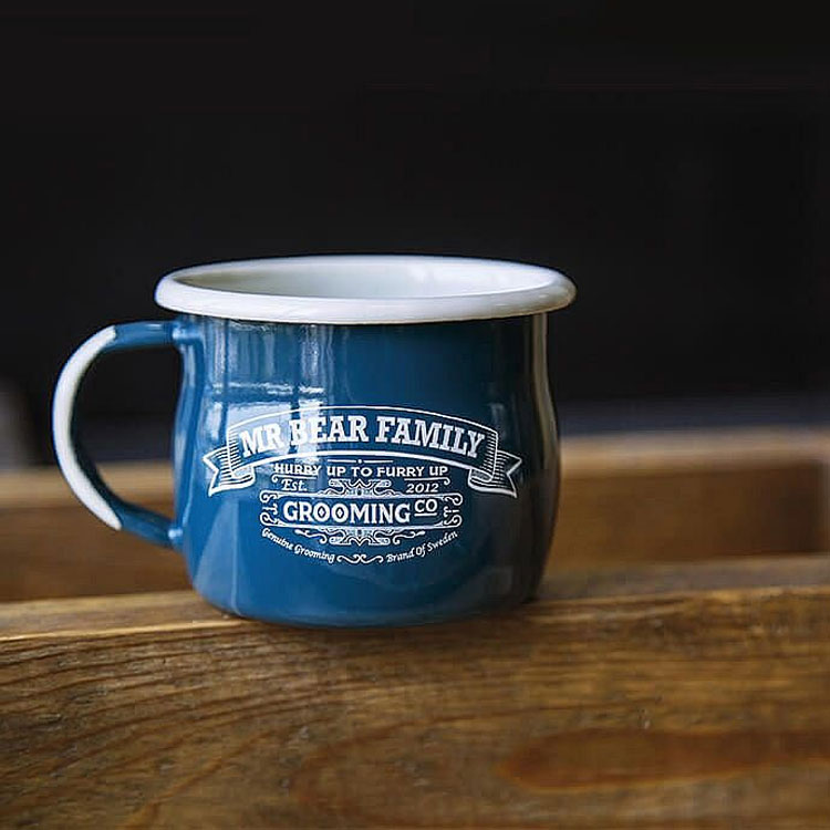 Mr Bear Family Enamel Mug