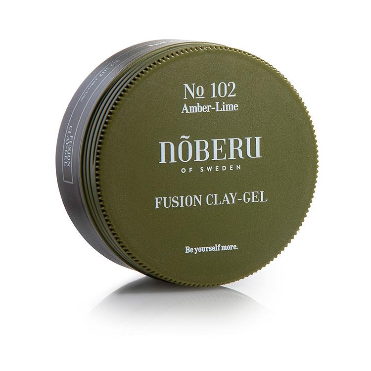 Nõberu of Sweden Fusion Clay Gel, Stylingprodukt som känns som en lera men har stylingegenskaperna av ett vanligt hårgel. Den lämnar ett resultat med lagom glans och extra stadga.