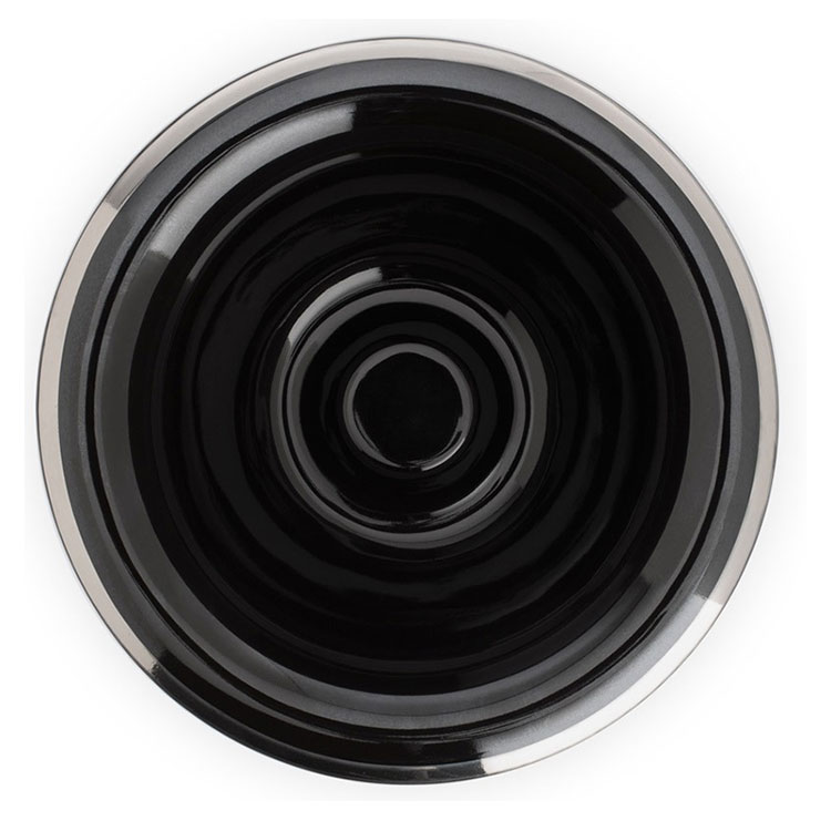 Mühle Rakskål Svart Porslin RN16, lyxig rakskål i svart porslin förgylld med en vacker silverkant.