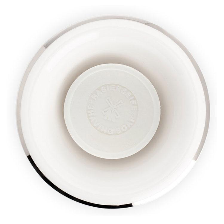 Mühle Rakskål Vit Porslin, en lyxig rakskål i vit porslin förgylld med en vacker silverkant