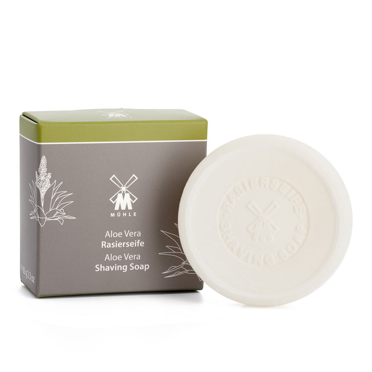 Mühle Shaving Soap Aloe Vera, raktvål med aloe vera som förbereder huden och skägget för en nära och skonsam rakning.
