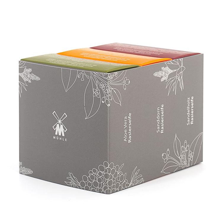 3-pack med Mühles populära raktvålar i alla tre dofter.