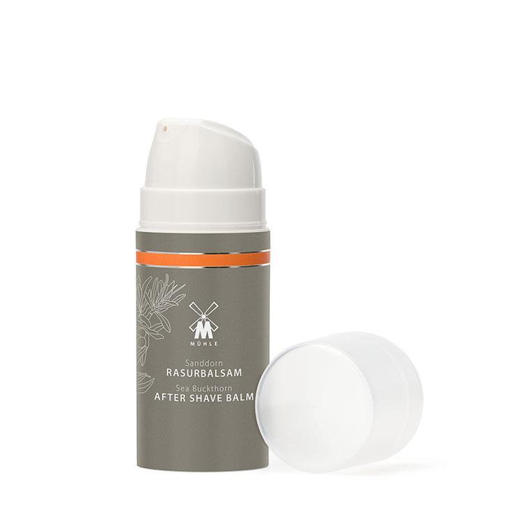 Mühle After Shave Balm Sea Buckthorn, rakbalm rik på värdefulla C-vitaminer och antioxidanter som främjar förnyelse av hudens celler.