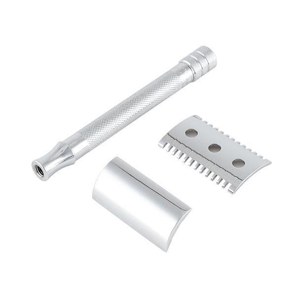Merkur Säkerhetshyvel 25C med längre handtag och öppen kam som passar bäst för en kraftig och tätare skäggväxt.