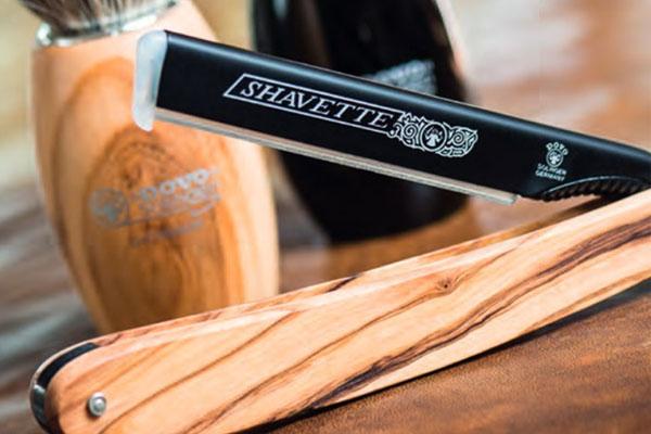 Dovo Shavette Olivträ, rakkniv med utbytbara blad i en snygg kombo av mattsvart aluminium och olivträ.