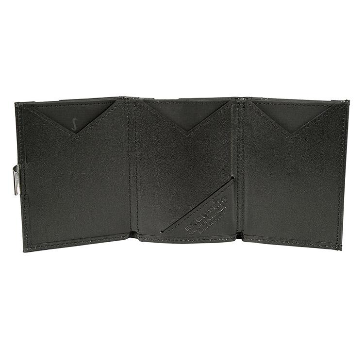 Exentri Wallet Black, smart plånbok designad för kort, sedlar och kvitton.