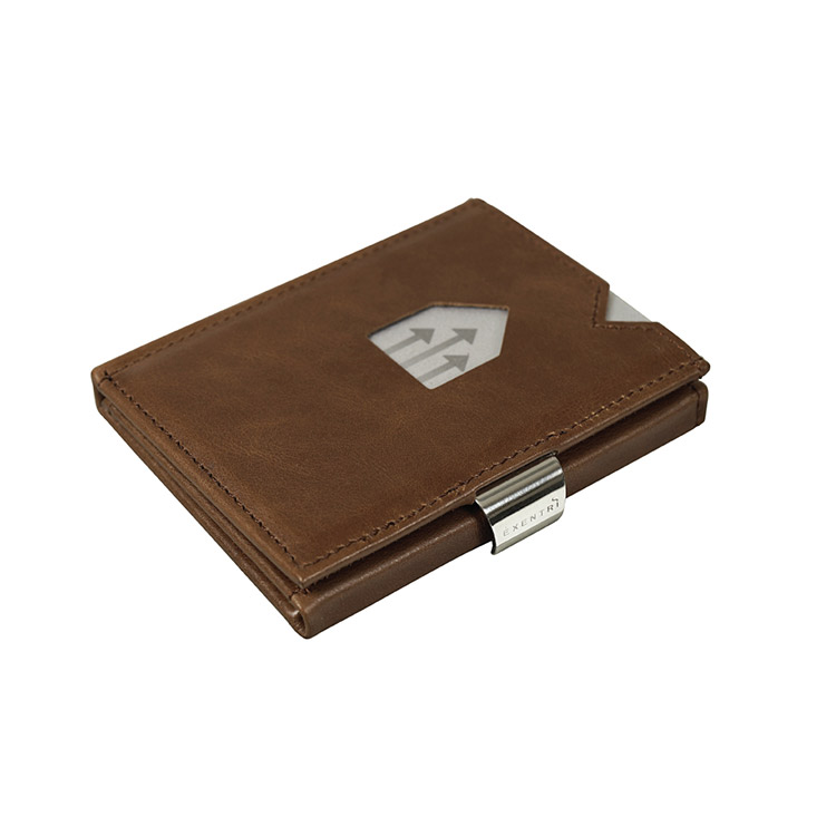 Exentri Wallet Hazelnut, smart plånbok designad för kort, sedlar och kvitton.