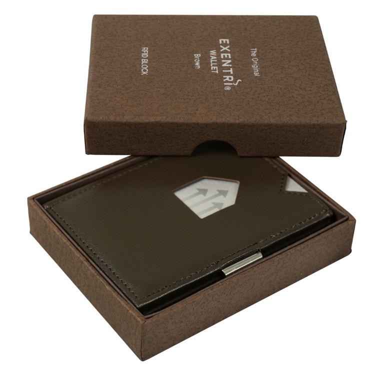 Exentri Wallet Brown, smart plånbok designad för kort, sedlar och kvitton.