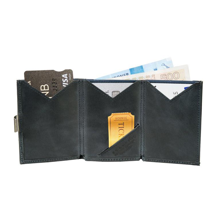 Exentri Wallet Blue, smart plånbok designad för kort, sedlar och kvitton.