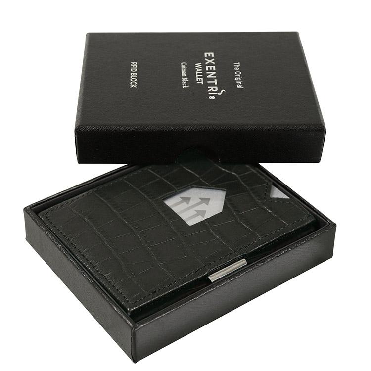 Exentri Wallet Caiman Black, smart plånbok designad för kort, sedlar och kvitton.