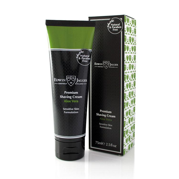 Edwin Jagger Aloe Vera Shaving Cream 75 ml, Ekologisk rakkräm med doft av Aloe vera