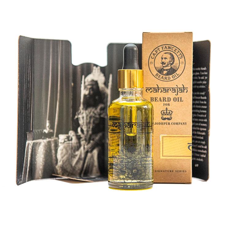Captain Fawcett Maharajah Beard Oil 50 ml, en lyxig skäggolja för en kunglig finish. Inspirerad av indiska doftnoter i ett samarbete med The Jodhpur Company.