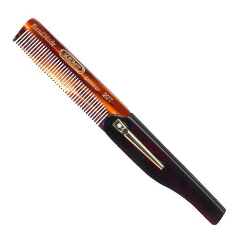 Kent Brushes Folding Pocket Comb Fine 20T, en vikbar och fintandad kam med klämma som lätt ryms i fickan.