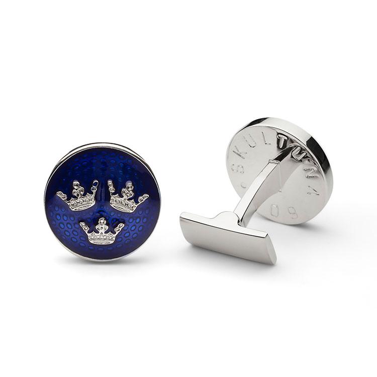 Skultuna Manschettknappar Tre Kronor Royal Blue Silver