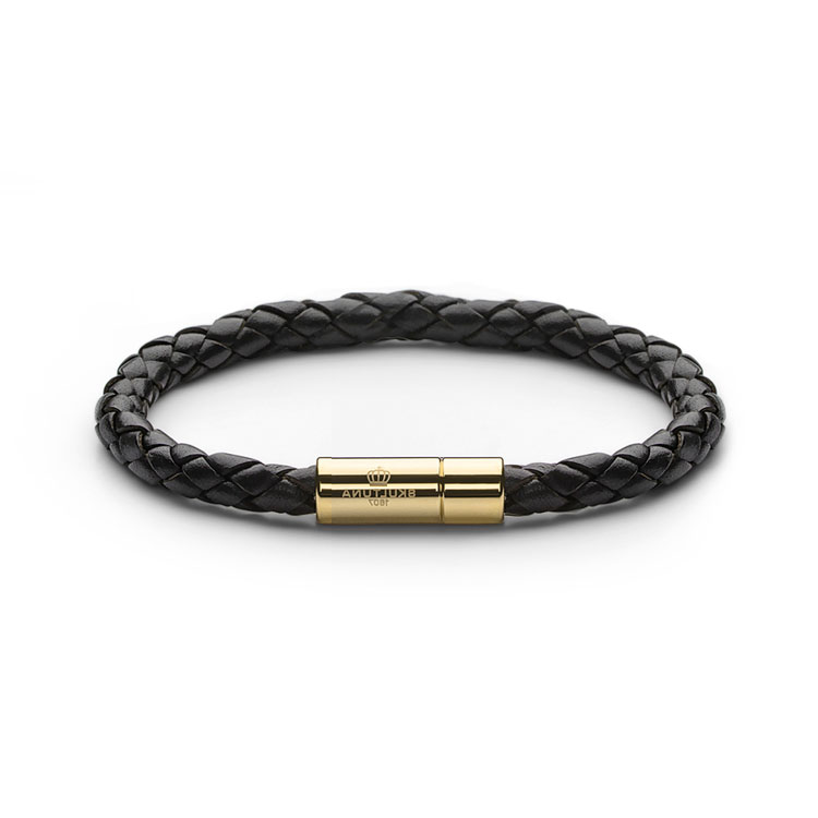 Skultuna Leather Bracelet Gold Black