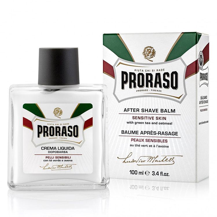 Proraso After Shave Balm Sensitive Green Tea, Alkoholfri rakbalm för känslig och lättirriterad hud.