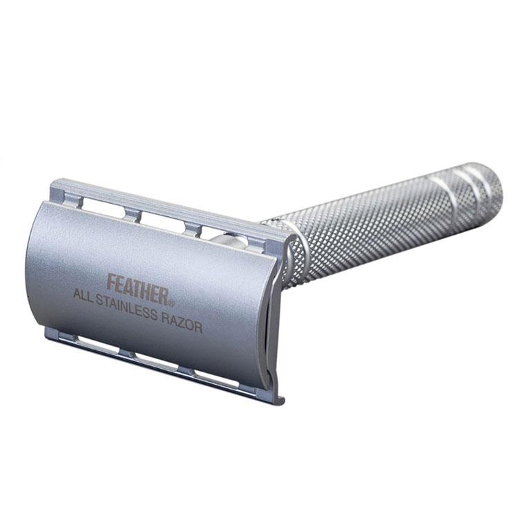 Feather Säkerhetshyvel med ställ AS-D2S, Exklusiv säkerhetshyvel i rostfritt stål med tillhörande ställ.