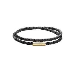 Skultuna Leather Bracelet Thin Gold Black