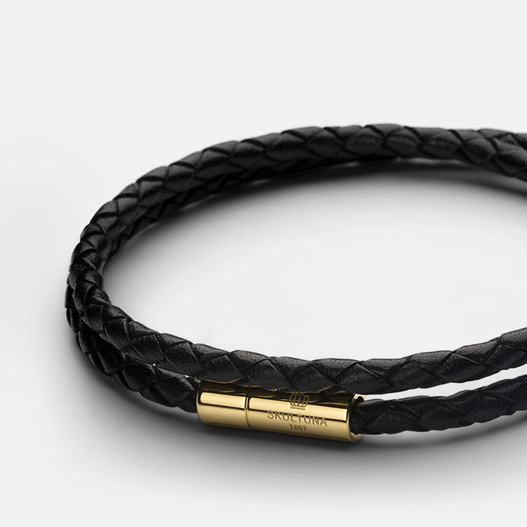 Skultuna Leather Bracelet Thin Gold Black