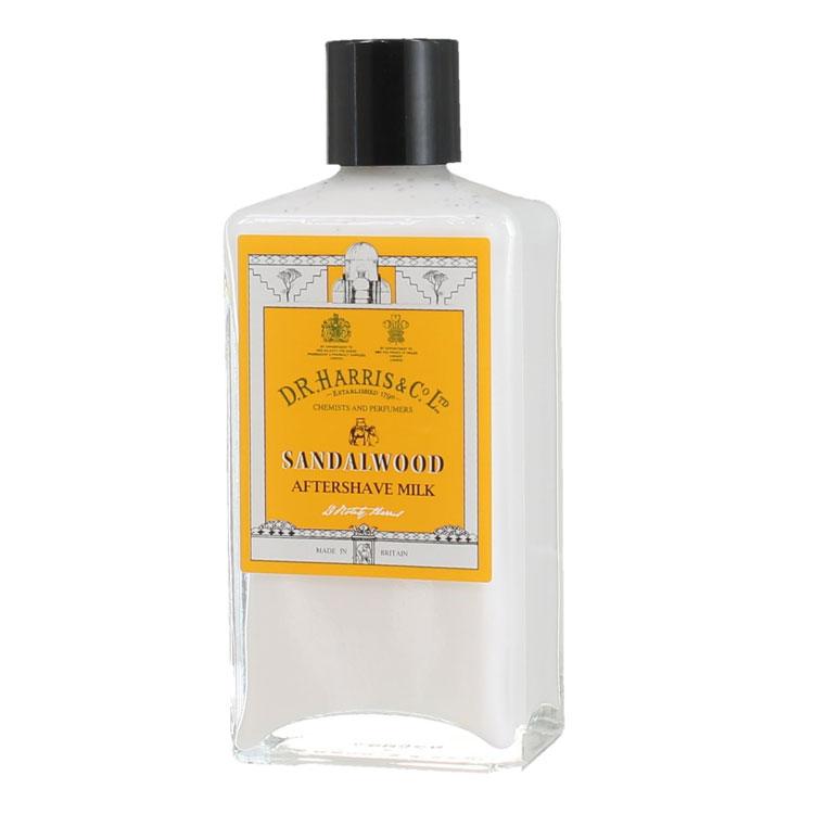 D.R. Harris Sandalwood Aftershave Milk, Alkoholfri raklotion som lugnar och återfuktar huden efter rakning.