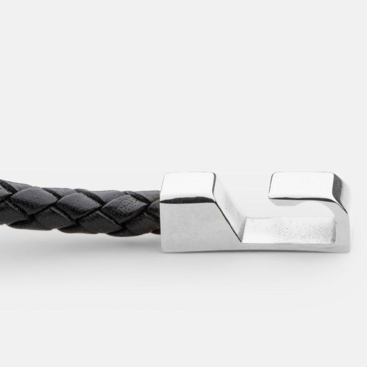 Skultuna Hook leather Bracelet Polished Steel Black