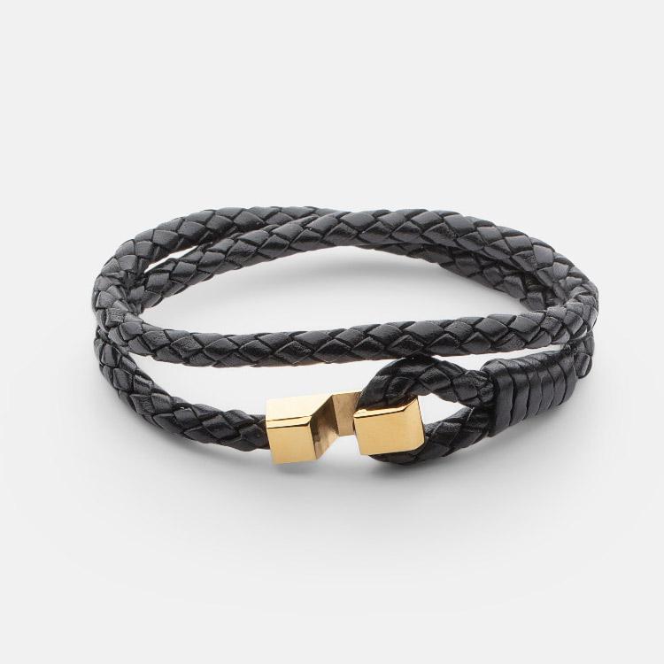Skultuna Hook leather Bracelet Gold Plated Black