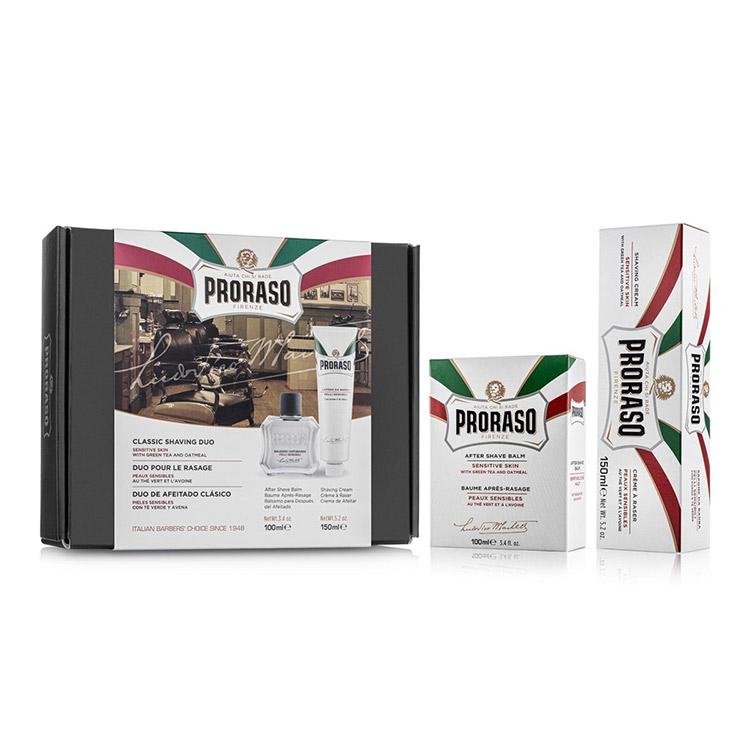 Proraso Gift Set Duo Sensitive Green Tea Balm & Cream