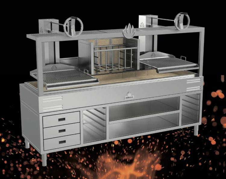 Mibrasa Parrilla grill - hel arbetsstation