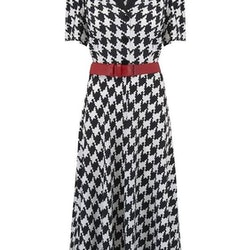 """""""Lola"""" Shirtwaister Dress Houndstooth Print"""