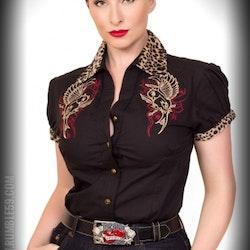 Snygg  blus från Rumble 59 svart med leopard inlägg