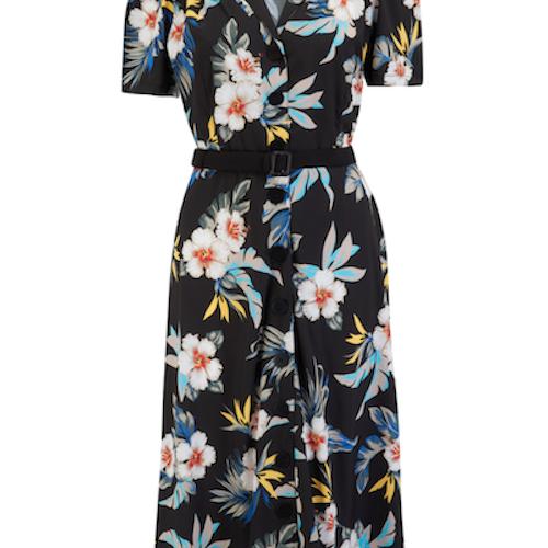 Charlene Shirtwaister Dress Black Hawaiian