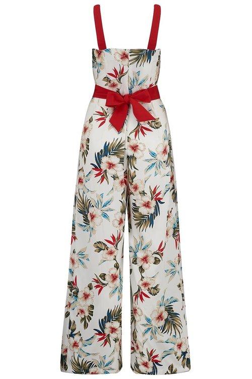 """Lana"" Jump Suit in White Hawaiian Print"