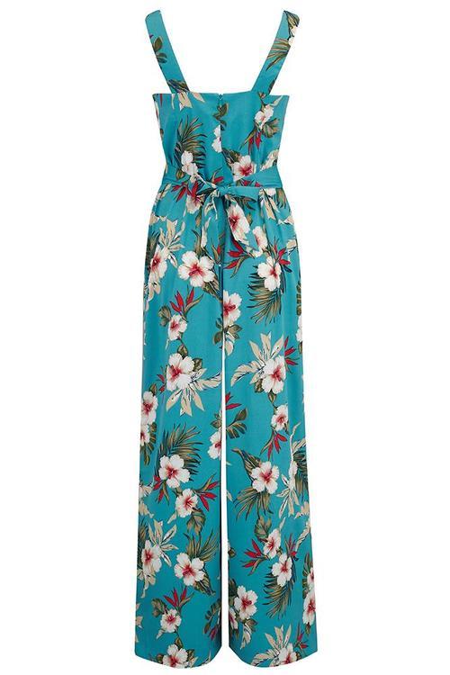 """""""Lana"""" Jump Suit in Teal Hawaiian Print"""