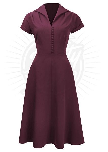 Pretty 40s Hostess Dress in Wine