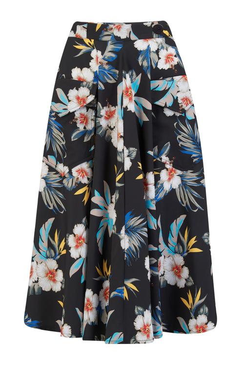 Swing Skirt with Pockets in Black Hawaiian Print
